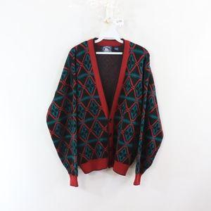90s Streetwear Mens XL Abstract Cardigan Sweater